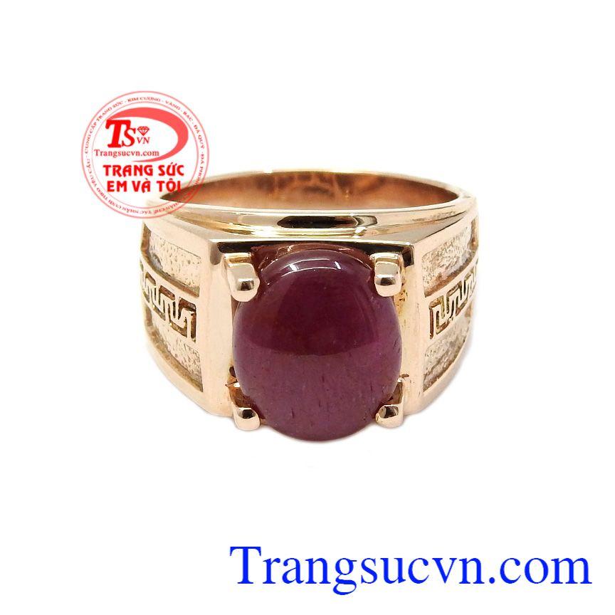 Nhẫn được thiết kế kết hợp từ vàng 18k và đá Ruby thiên nhiên,Nhẫn nam Ruby chiêu lộc